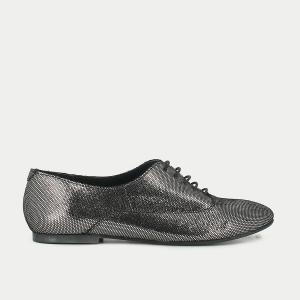 Ботинки-дерби из металлизированной кожи JONAK. Цвет: серый серебристый