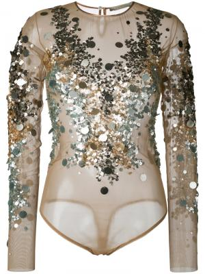 Блузка с пайетками Amen. Цвет: телесный