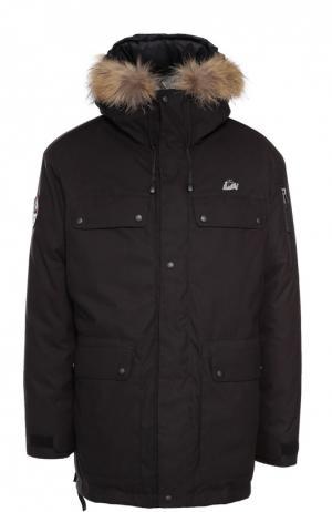 Пуховая парка POLUS с меховой отделкой капюшона Arctic Explorer. Цвет: черный