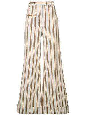 Полосатые брюки-палаццо B-Boy Rosie Assoulin. Цвет: телесный