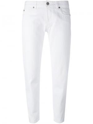 Укороченные облегающие брюки Aspesi. Цвет: белый