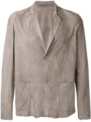Кожаный пиджак Salvatore Santoro. Цвет: серый