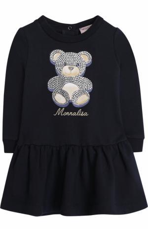 Мини-платье со стразами Monnalisa. Цвет: синий