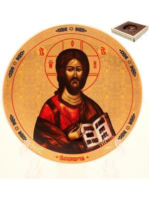 Тарелка декоративная Иисус Христос Elan Gallery. Цвет: золотистый, коричневый