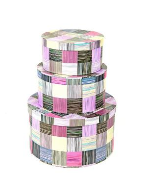 Коробка картонная,  набор из 3 шт. 20х20х10- 30х30х15 см. Сиреневое сияние. VELD-CO. Цвет: сиреневый, фиолетовый, фуксия