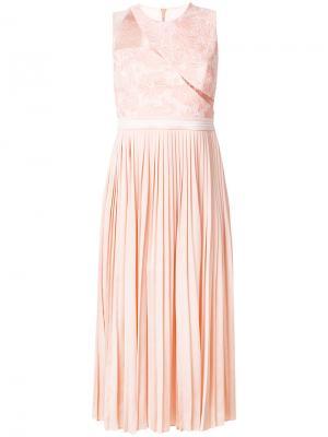 Платье Starlight с плиссировкой и кружевом Three Floor. Цвет: жёлтый и оранжевый