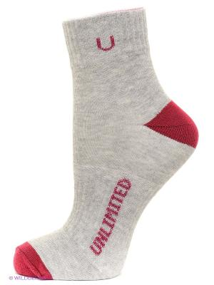 Носки спортивные, 5 пар Unlimited. Цвет: серый меланж, темно-красный
