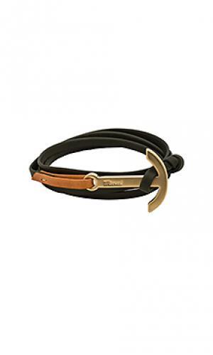 Кожаный браслет с покрытием матового золота anchor Miansai. Цвет: оливковый