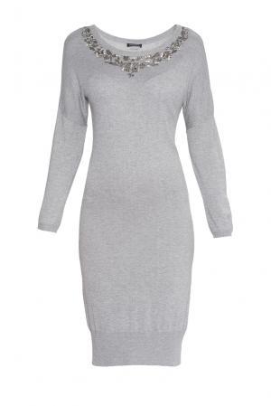 Платье из вискозы и шерсти с бисером 181455 Cristina Effe. Цвет: серый