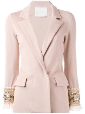 Жакет с блестящей отделкой на манжетах Giada Benincasa. Цвет: розовый и фиолетовый