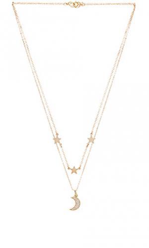 Двойное ожерелье mina Mimi & Lu. Цвет: металлический золотой