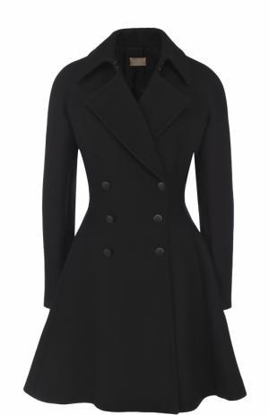 Двубортное шерстяное пальто Alaia. Цвет: черный