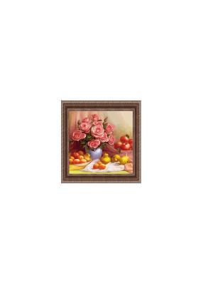 Натюрморт с розами В920 Картина в раме 25х25 PROFFI. Цвет: розовый, желтый, красный
