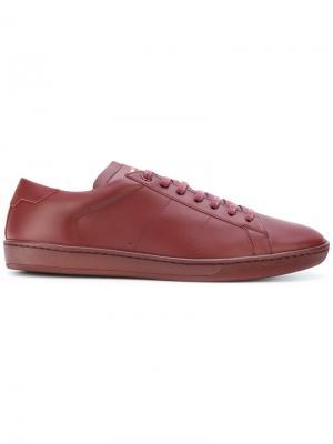 Кеды на шнуровке Saint Laurent. Цвет: красный