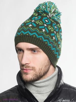 Шапка Capo. Цвет: темно-зеленый, голубой, белый, зеленый