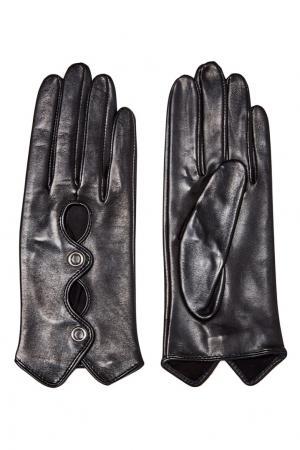 Черные перчатки с фигурными вырезами Eleganzza. Цвет: черный