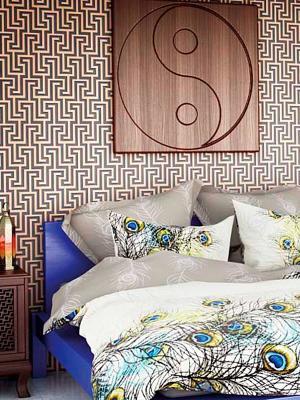 Комплект постельного белья Павлин Волшебная ночь. Цвет: серый, белый, желтый, синий