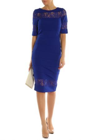 Платье с кружевным низом и горловиной PAPER DOLLS. Цвет: синий