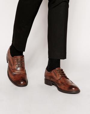 Frank Wright Кожаные броги. Цвет: коричневый