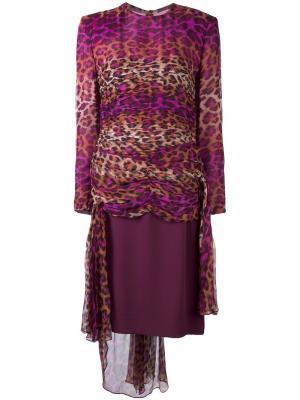 Платье с леопардовым принтом Jean Louis Scherrer Vintage. Цвет: розовый и фиолетовый