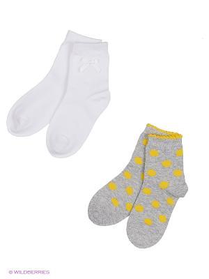 Носки трикотажные для девочек, 2 пары в комплекте PlayToday. Цвет: белый, желтый, серый