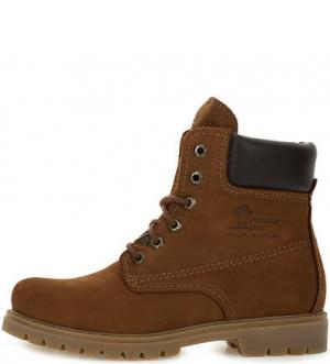 Утепленные ботинки из нубука Panama Jack. Цвет: коричневый