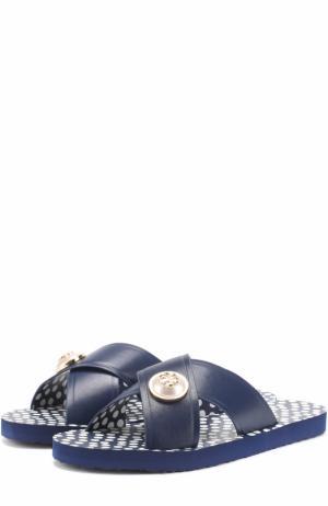 Кожаные шлепанцы с логотипом бренда Tory Burch. Цвет: синий