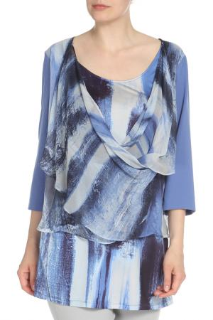 Рубашка-блузка Krizia. Цвет: синий, голубой, принт