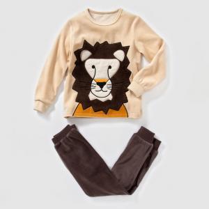 Пижама из велюра с рисунком лев, 2-12 лет abcd'R. Цвет: бежевый/ каштановый