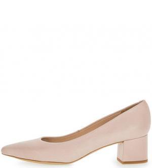 Остроносые кожаные туфли на устойчивом каблуке UNISA. Цвет: розовый