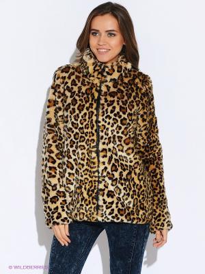Куртка Oodji. Цвет: бежевый, коричневый