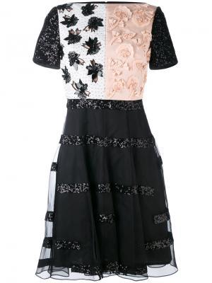 Приталенное платье с аппликацией Talbot Runhof. Цвет: чёрный