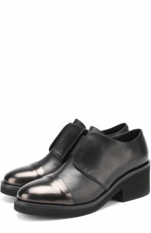 Кожаные ботинки на устойчивом каблуке Vic Matie. Цвет: черный