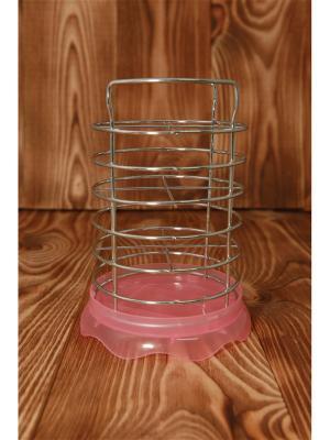 Сушилка для столовых приборов с поддоном , металл, пластик, d13х11см, 3 цвета, АЕ-419 Vetta. Цвет: розовый