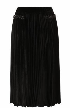 Бархатная плиссированная юбка-миди No. 21. Цвет: черный