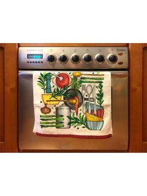 Полотенце для кухни Хлопковый Край. Цвет: светло-зеленый, оливковый, темно-красный, рыжий, молочный