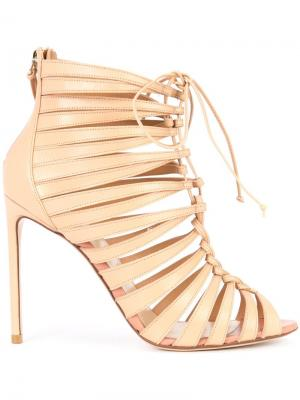 Strappy ankle boots Francesco Russo. Цвет: телесный
