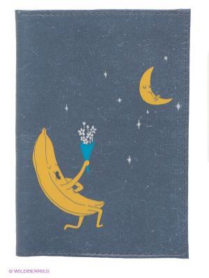 Обложка для паспорта Влюбленный банан Mitya Veselkov. Цвет: серый