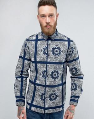 Edwin Синяя рубашка Standard Bandana. Цвет: темно-синий