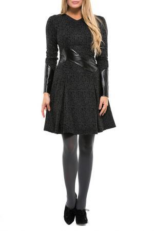 Уникальное платье с длинным рукавом Gloss. Цвет: черно-серый, черный