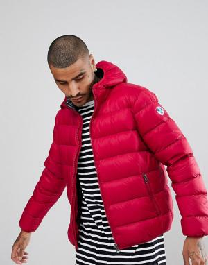 North Sails Красная дутая куртка с капюшоном. Цвет: красный