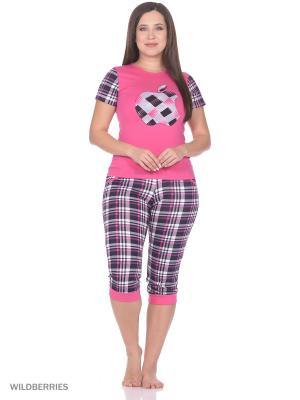 Пижама женская (футболка,капри) MARSOFINA. Цвет: малиновый