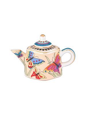 Сувенир-чайник Бабочки на лугу Elan Gallery. Цвет: кремовый, синий, красный, оранжевый
