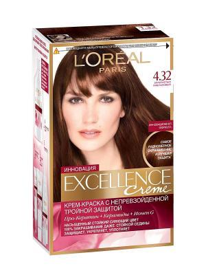 Стойкая крем-краска для волос Excellence, оттенок 4.32, Золотистый каштановый L'Oreal Paris. Цвет: коричневый