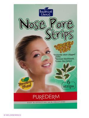 Очищающие полоски для носа Зеленый чай Purederm. Цвет: светло-зеленый