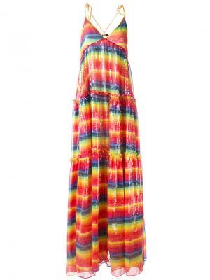Платье с радужной отделкой пайетками Daizy Shely. Цвет: многоцветный