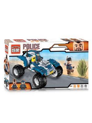Конструктор Квадроцикл Полиция с фигуркой, 139 дет. ENLIGHTEN. Цвет: синий, серый, желтый, белый