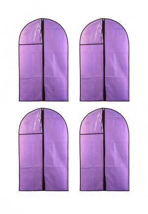 Комплект чехлов для одежды 4 шт. El Casa. Цвет: фиолетовый
