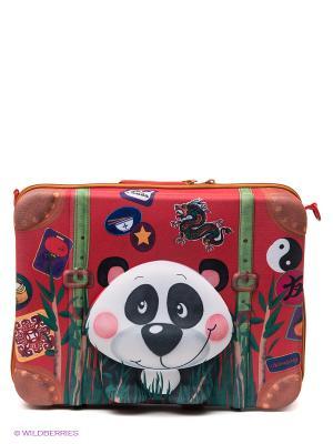 Чемодан Панда Okiedog Wild Pack. Цвет: красный