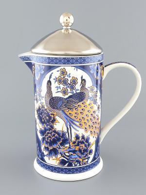 Чайник с поршнем Павлин синий Elan Gallery. Цвет: синий, белый